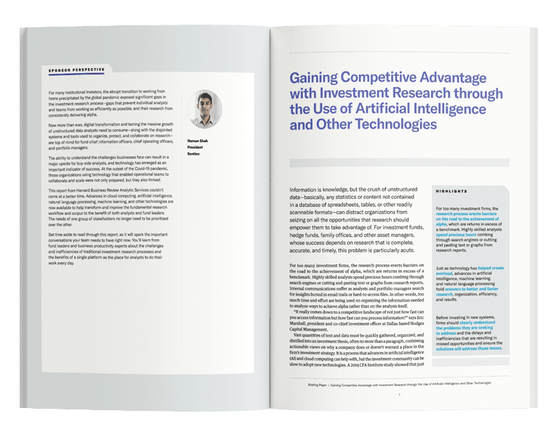 Gaining Competitive Advantage with Investment Research through the Use of Artificial Intelligence and Other Technologies